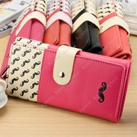 Wholesale New arrival Hot Sale fashion Ladies Women High Quality Solid Button Leather Hand Bag Long Clutch Wallet Purse SV003811