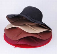 Wholesale Women s Wool Bowknot Band Floppy Hat Wide Brim Crushable Series Caps Fashion Lady Summer Beach Felt Trilby Caps DII