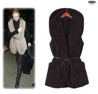 Wholesale Women Ladies Hooded Collar Faux Lamb Fur Long Vest Pure Color Jacket Casual Thick Coat With Belt