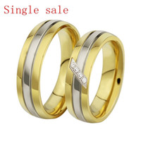 Wholesale fashion couple rings for love wedding CZ jewelry his and hers promise gold ring single sale lover rings