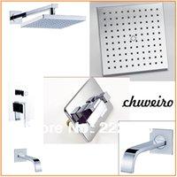 Wholesale Copper Chrome Bathroom Shower Faucet Shower Set Bath Shower Mixer Wall Water Tap Lanos Torneira Chuveiro Banheiro Ducha Grifos