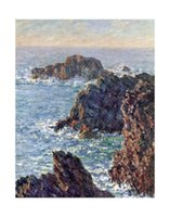 Oil Painting belle point - Landscape Painting Claude Monet oil on Canvas Rock Points at Belle Ile c Room decoration Hand painted High quality