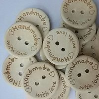 Wholesale 100pcs per pack Handmade with love Buttons Sewing Button Natural Wood mm