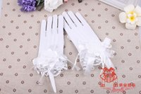 Wholesale Beautiful Bridal Gloves Wrist Length Ringer Finger With Charming Beads Lace Gloves For Appliques And Bling Wedding Women