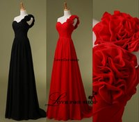 Cheap 2015 Cheap One Shoulder Chiffon Black Red Evening Bridesmaid Dresses Handmade Flowers Long Bridal Prom Party Prom Gowns L022706