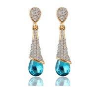 man made diamond - Women ZIRCON water drop earring with full man made diamond big Rhinestone blue shiny wedding bridal dangle dangle new arrival