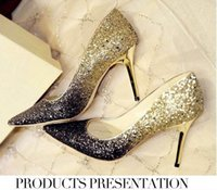 pumps shoes - 2015 women brand deisgner Glitter gradient high heeled pumps pointed toe sexy genuine leather women s shoes wedding shoes gold silver