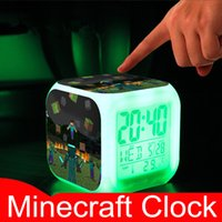 Wholesale Minecraft Alarm Clock Creeper Clock with LED Multifunction Night Light Electronic Alarm Clock Toys Creative Digital Alarm Clock Minecraft
