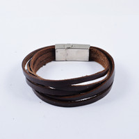 stainless steel rope - New arrival men s vintage L stainless steel multilayer brown PU leather ropes bracelet bangle SB0811