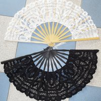 lace hand fan - Handmade Cotton Lace Hand Fans White Ivory Bamboo Wedding Party Decoration Shows Dance Bride Bridesmaid Bridal Accessories Cheap Hot