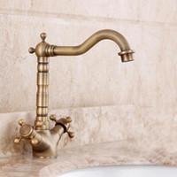 Wholesale Full European antique copper retro copper faucet hole basin faucet hot and cold faucet Art Basin Above