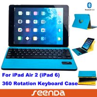 Wholesale 10pcs rotation case cover for ipad air ipad th with detachable bluetooth magnet ABS keyboard blue yellow black colors
