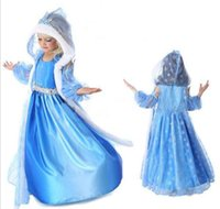 Cheap 2016 Frozen Blue Dresses For Kids Costume Childrens Party Occasion Dresses Girls Hooded Clothes Hot Sale