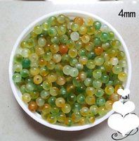 Wholesale B Piece Fashion DIY mm Round Shape Yellow Green Jade Beads DIY Hand made Jade Beads Accessories