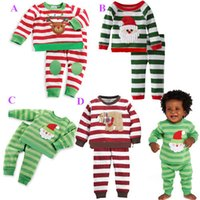 Best for 1-3T/years old 3Size:80-90-100cm Multi-Color 2016 Toddler Girl stripped Christmas Set Santa Sweat coat & long reindeer pants New Year warm 2 pcs set