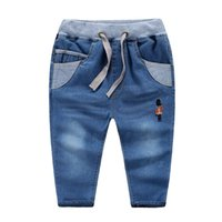 Wholesale 2016 NEW spring Boys jeans cotton washed white embroidery soldier Soft jean pants Children kids jeans waistband knitted waist