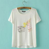 Cheap 2015 Summer Cute Rabbit Cartoon Printing T-Shirt Women Casual Fashion Short Sleeve Lovely Tees Tops Color White A3J2034 D50