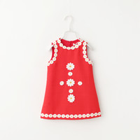 baby chothes - Spring New Children dress baby girls sunflowers appliqued vest dress kids princess dress children chothes red pink white green A7827