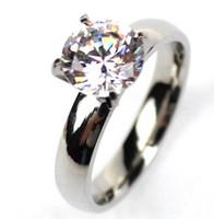 les femmes de luxe Solitaire Bague de Mariage Engagement cristal Swarovski Zircon Titane Bague acier or argent taille US expédition 6-12 baisse