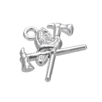 antique fire axe - 50pcs a Zinc Alloy Antique Silver Floating Fire Helmet and Axe Good Luck Pendant Charms For Gift DIY Jewelry