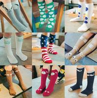 al por mayor kawaii-Unisex del muchacho del bebé de la rodilla niños de dibujos animados calcetines altos Calcetines lindos dibujos animados zorro gato calcetines de la bandera americana calentadores de la pierna para niños Kawaii calcetines en stock