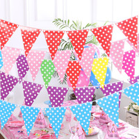 Wholesale Fashion Polka Dot Color Flags Scroll Birthday Party Beautiful Hanging Flags Garland Decoration Christmas Party Favors Promotion SD454