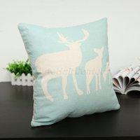 "Cheap Wholesale-Warm Light Blue Deer Elk Bird 17""x17""Square Pattern Pillow Case Linen Cotton Home Sofa Bed Car Decor Cushion Cover Great"