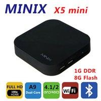 al por mayor x5 inteligente mini pc-Control remoto MINIX NEO X5 Mini Android 4.4 Smart TV Box palillo RK3066 de doble núcleo Cortex-A9 X5 mini PC Media Player 1G / 8G Bluetooth HDMI RJ45