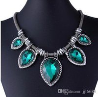 Wholesale New For Valentine s Day Exaggerated fashion restoring ancient gemstone necklaces silver statement necklaces necklace restoring