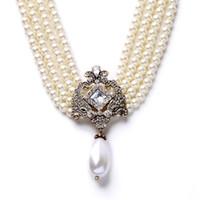Wholesale Pearl Choker Necklace Temperament Multi Layer Rhinestone Wedding Choker Drop Bridal Jewelry for Simulated pearl