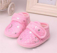 Wholesale New Arrival Baby Boy Girl Blazing Star Moon Print Shoes First Walker Shoes Toddler Yellow Pink Blue Fleece Soft Sole Antikid Moccasins