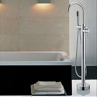 Wholesale And Retail Luxury Floor Mounted Free Standing Bathroom Tub Mixer Tap Faucet W Hand Shower