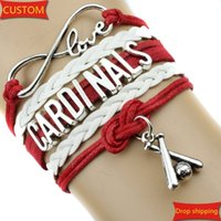 american sports works - Infinity Love CARDINALS baseball Sports Team Bracelet red white Customize Sport friendship Bracelets great quality creative work