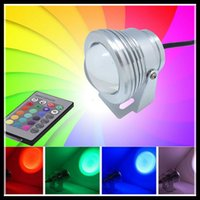Wholesale 10W RGB Floodlight Underwater LED Flood Lights Swimming Pool Outdoor Waterproof Round DC V Convex Lens led light