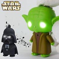 Wholesale Star Wars Darth Vader Yoda Keychain Accessories LED Luminous Keychain Creative Music Chain Key Pendant DHL Freeshipping