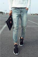 Wholesale men jeans new men s Nine points jeans Male Korean Slim pantyhose Embroidery jeans ladies casual pencil jeans