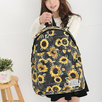 Wholesale 2015 New Style Casual Women s Canvas Backpacks bag Floral Sunflower Printed Sunny Student School bags