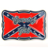 Wholesale Red Blue Metal Belt Buckle Country Girl Cursive Confederate Flag Southern Rebel
