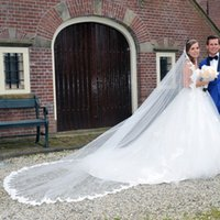 Wholesale New Lace White Ivory Long Tulle Wedding Bridal Veil One Layer Applique Lace Wedding Veils Comb Custom Three Meters Cathedral Long