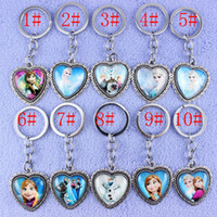Wholesale 10 Styles mixed key ring Cartoon Movie Frozen key chain Elsa Anna Olaf keychains for Girls Christmas gifts keyrings