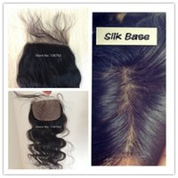 Cheap Brazilian Hair body wave silk closure Best Natural Color body wave brazilian silk closure