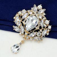 Other big diamante - 4 Inch Big Crystal Waterdrop Top Quality Gold Tone Drop Brooch Exquisite Big Diamante Jewelry Brooch Large Crystal Women Broach