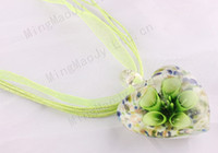 Wholesale handmade mix color Italian venetian D Heart Glory Flower Lampwork murano glass bead pendant silk necklaces