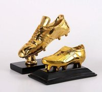 Wholesale 2014 Golden Shoes golden Boot Award football Souvenirs soccer Trophy lionel Messi c Ronaldo neymar brazil World Cup wood Resin