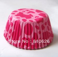 Wholesale Promotion Pink Lepord Wedding cupcake liner baking cup muffin paper case cup cake wrapper box case mold for birthday