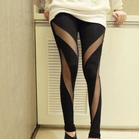 Wholesale Sexy Irregular Mesh Patchwork Leggings Women Pants Spring Cotton Women Leggings Casual Pants For Women
