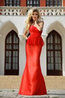 Cheap Womens Evening Dresses Sweetheart Strapless Lace Bodice and Peplum Satin Mermaid Eveing Gowns Red Party Dresses evening gowns online