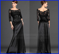 Wholesale Long Sleeve Black Lace Sheer Neck Formal Evening Dresses Beauta Plus Size Ruffles A Line Mother of the Bride Party Gowns Custom Cheap