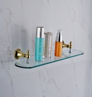 bathroom vanity shelves - Factory direct copper alloy glass bathroom vanity glass shelf shelving single