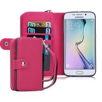 Cheap Flip Magnetic 2 in 1 Zipper Wallet Cases Leather Coin Purse Iwallet Credit Card Photo Cover Case For Samsung Galaxy S6 S6 Edge S6 Edge Plus